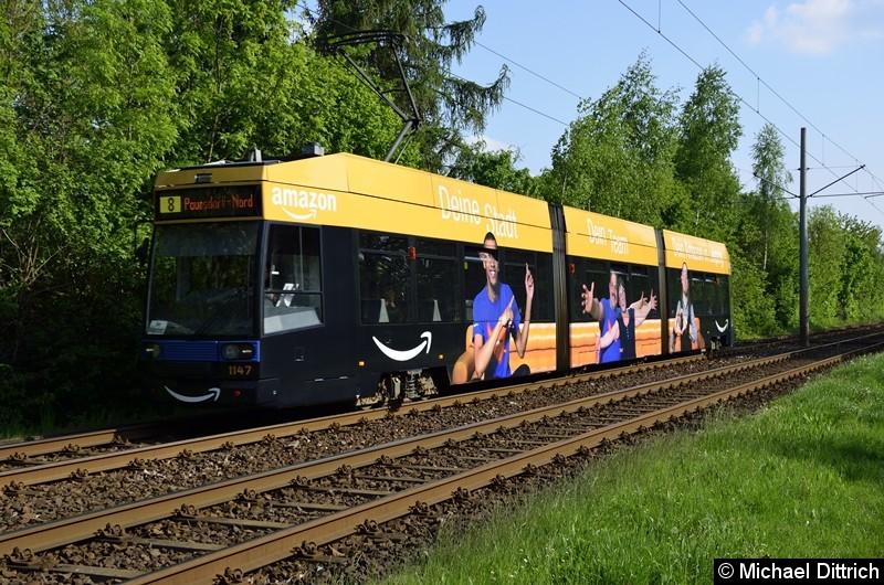 1147 als Linie 8 zwischen den Haltestellen Strabf. Paunsdorf und Am Vorwerk.