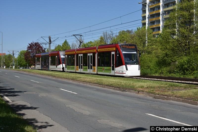 TW 724+714 als Linie 1 zwischen den Haltestellen Europaplatz und Thüringen-Park.
