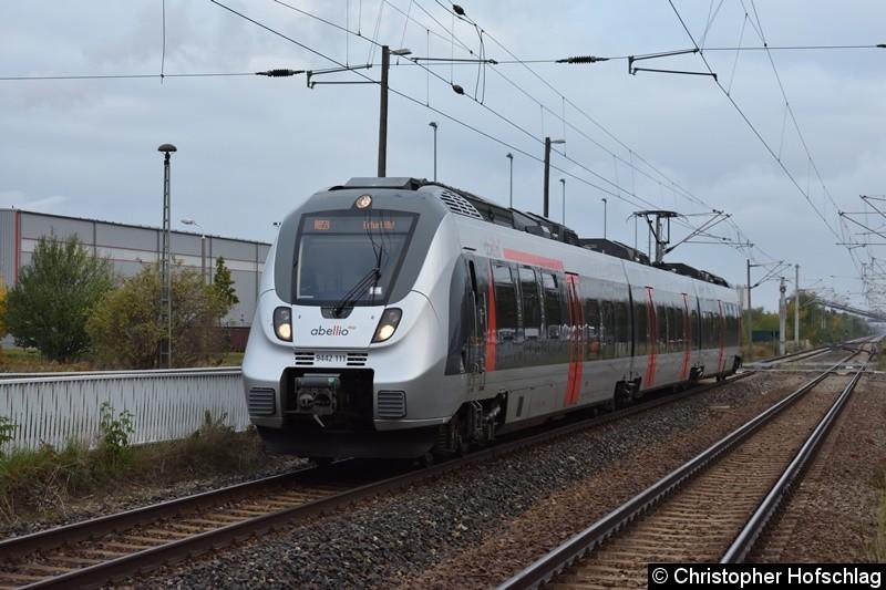 9442 111 bei der Einfahrt in Bahnhof Erfurt Ost als RB 59.