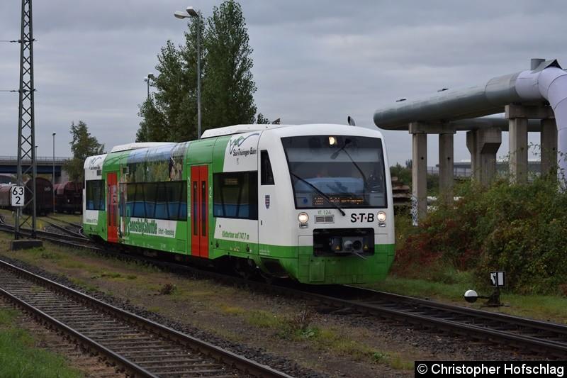 VT 124 beim Rangieren in Erfurt Ost.