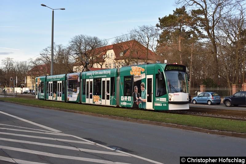 TW 636 als Linie 3 auf der Nordhäuser Straße/Höhe alte Zahnklinik in Richtung Urbicher Kreuz