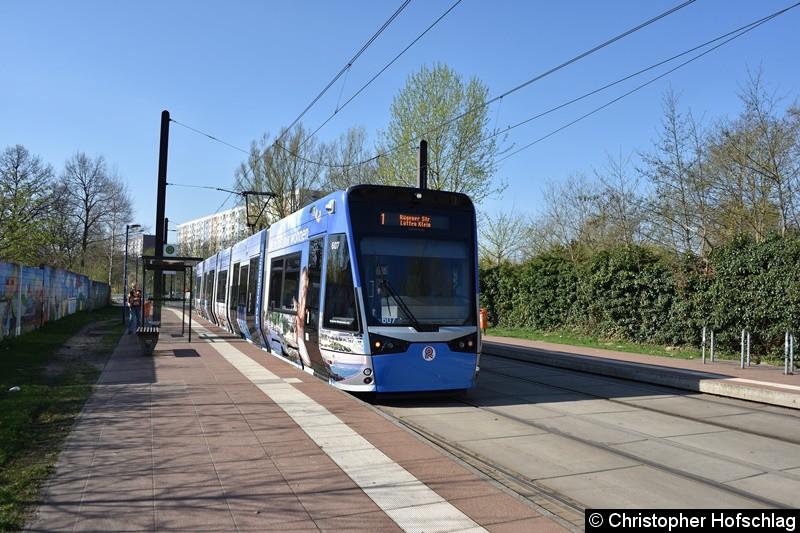 TW 607 als Linie 1 an der Haltestelle Rügener Straße.