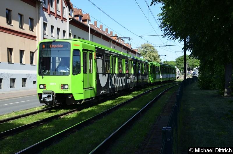 6228 + 6136 als Linie 9 zwischen den Haltestellen Bauweg und Körtingsdorfer Weg.