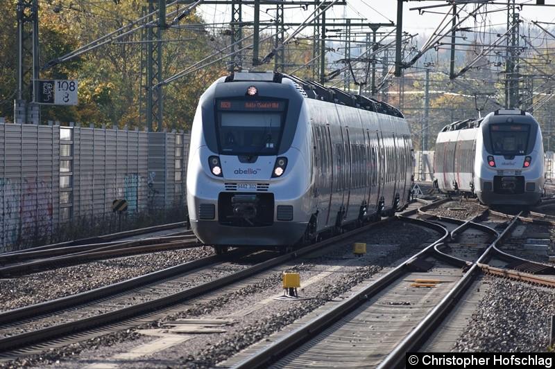 9442 302 als RB 20 nach Halle (Saale) bei der Einfahrt in Erfurt Hbf,9442 307 bei der Ausfahrt in Richtung Eisenach als RB 20.