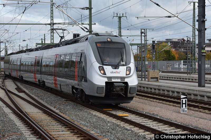9442 813 bei der Einfahrt in Erfurt Hbf als RB 20 nach Eisenach.