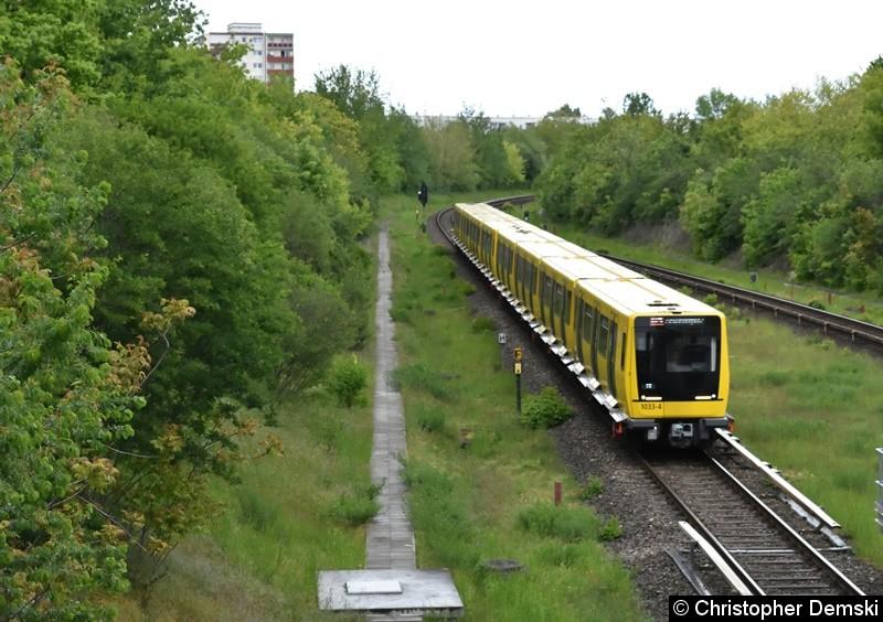 1033-4 + 1030 als U5 bei der Einfahrt in den U-Bahnhof Kienberg, Gärten der Welt.